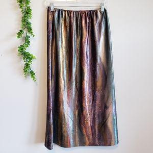 Vintage Velvet Geode Gasoline Print Midi Skirt
